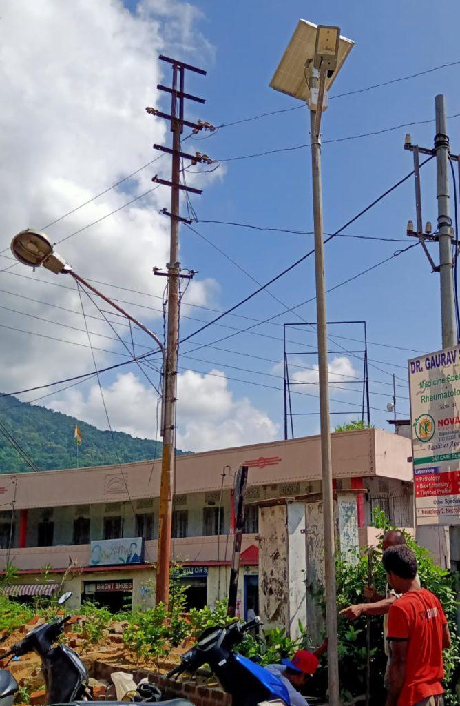 Solar street light installation in Goalpara, Assam